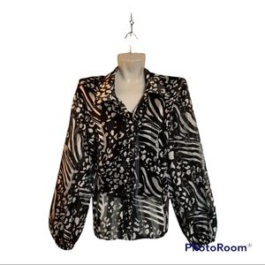 Laura Plus Petites Black and White Floral Sheer Blouse Size 18